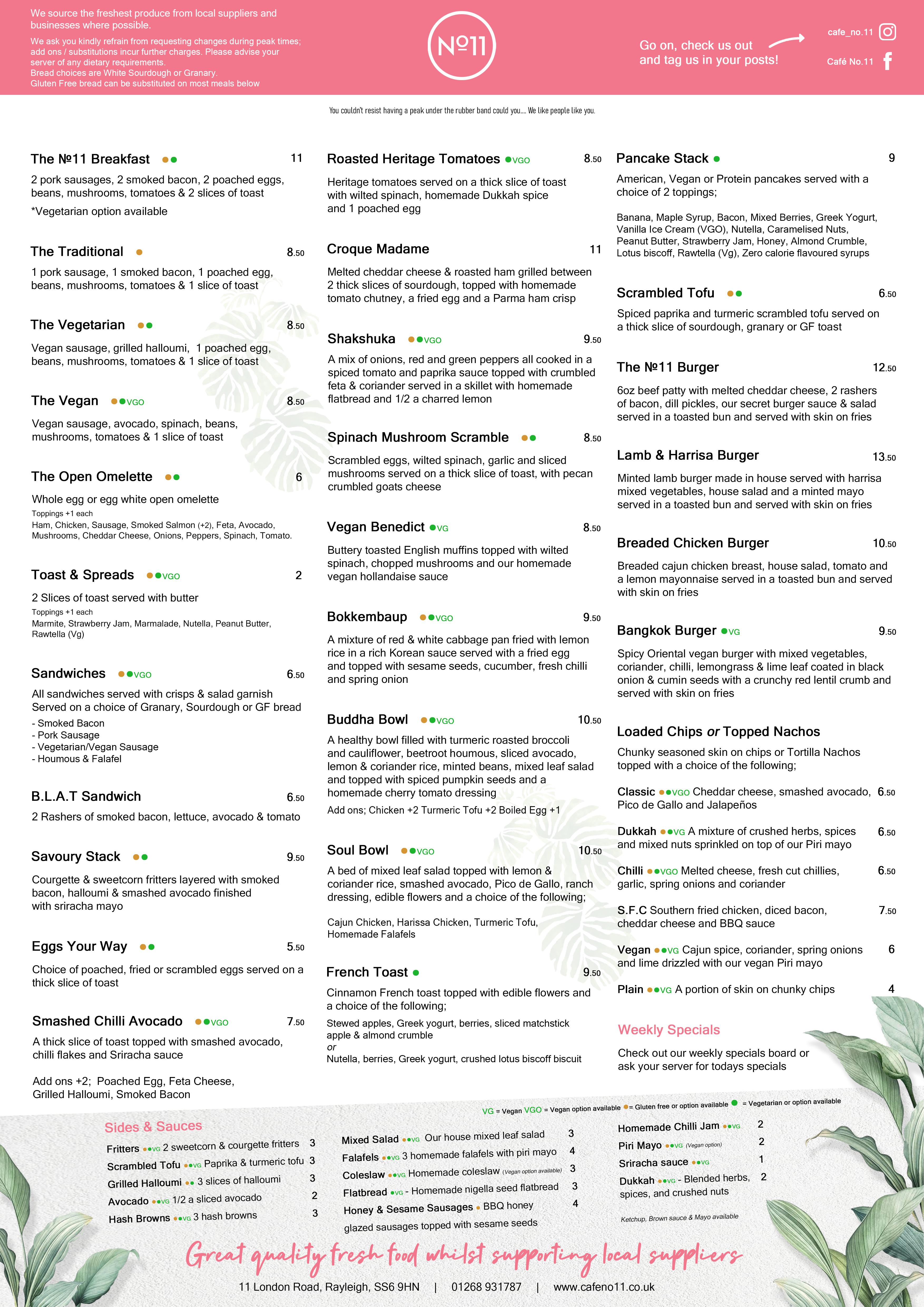Eat in food menu April 2021